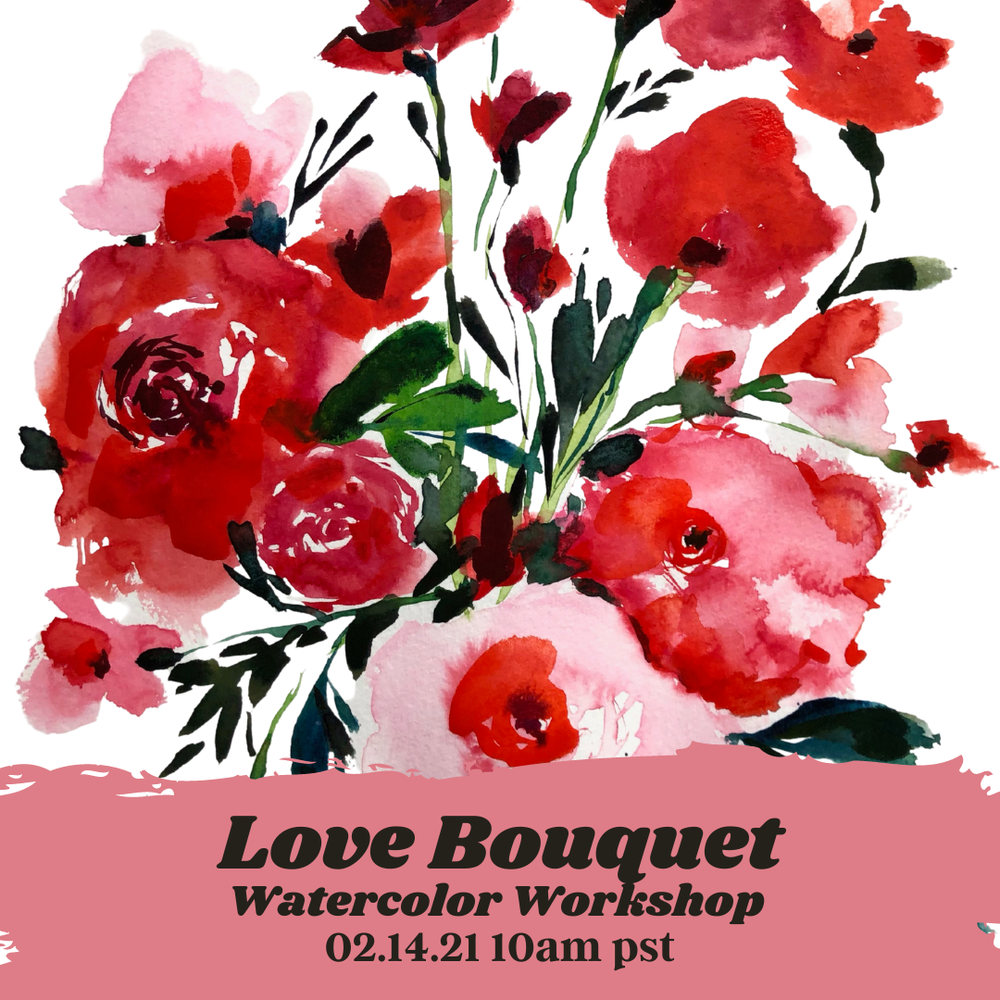 Image of Happy Valentine's Day! Learn How to Paint A Love Bouquet