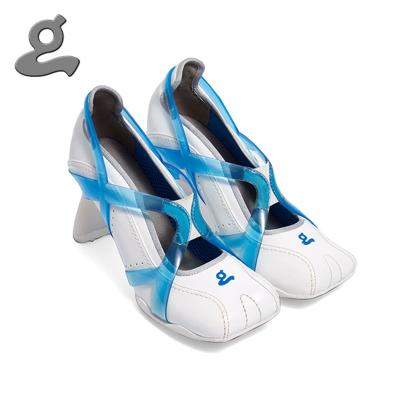 """Image of Blue-white TPU spliced sports middle heel shoes""""adult"""""""