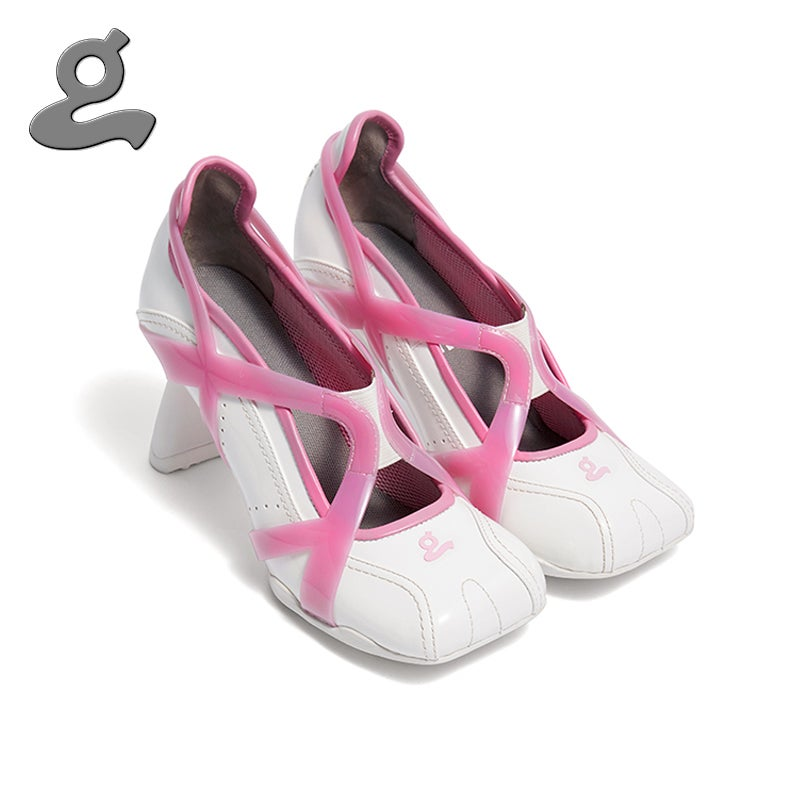 """Image of Pink-white TPU spliced sports middle heel shoes""""adult"""""""