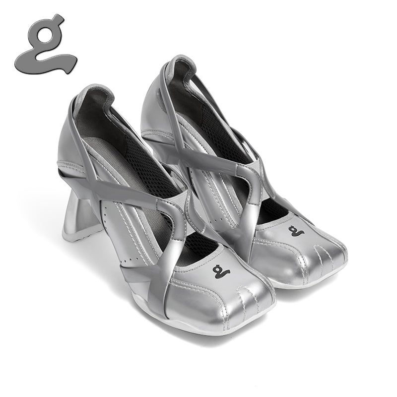 """Image of Silvery TPU spliced sports middle heel shoes """"adult"""""""