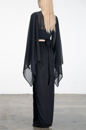 Image of SAMPLE SALE - Caped Sleeves Wrap Cropped Sheer top