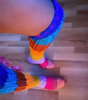 Image of Thigh High Crochet Socks Yellow Toe