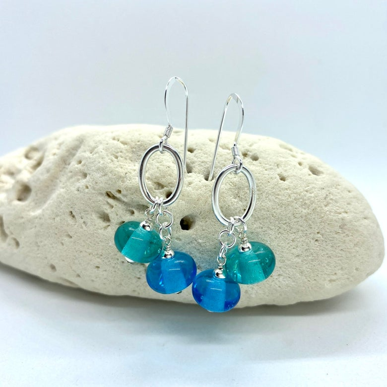 Image of Aqua and Turquoise Double Earrings