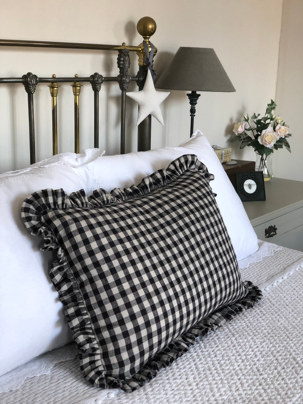 Image of Charcoal linen Gingham Cushions