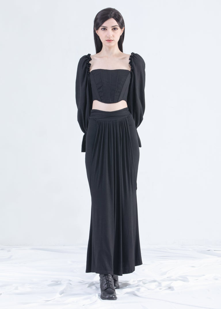 Image of SAMPLE SALE - Long Draped Mermaid Skirt With Front Ties