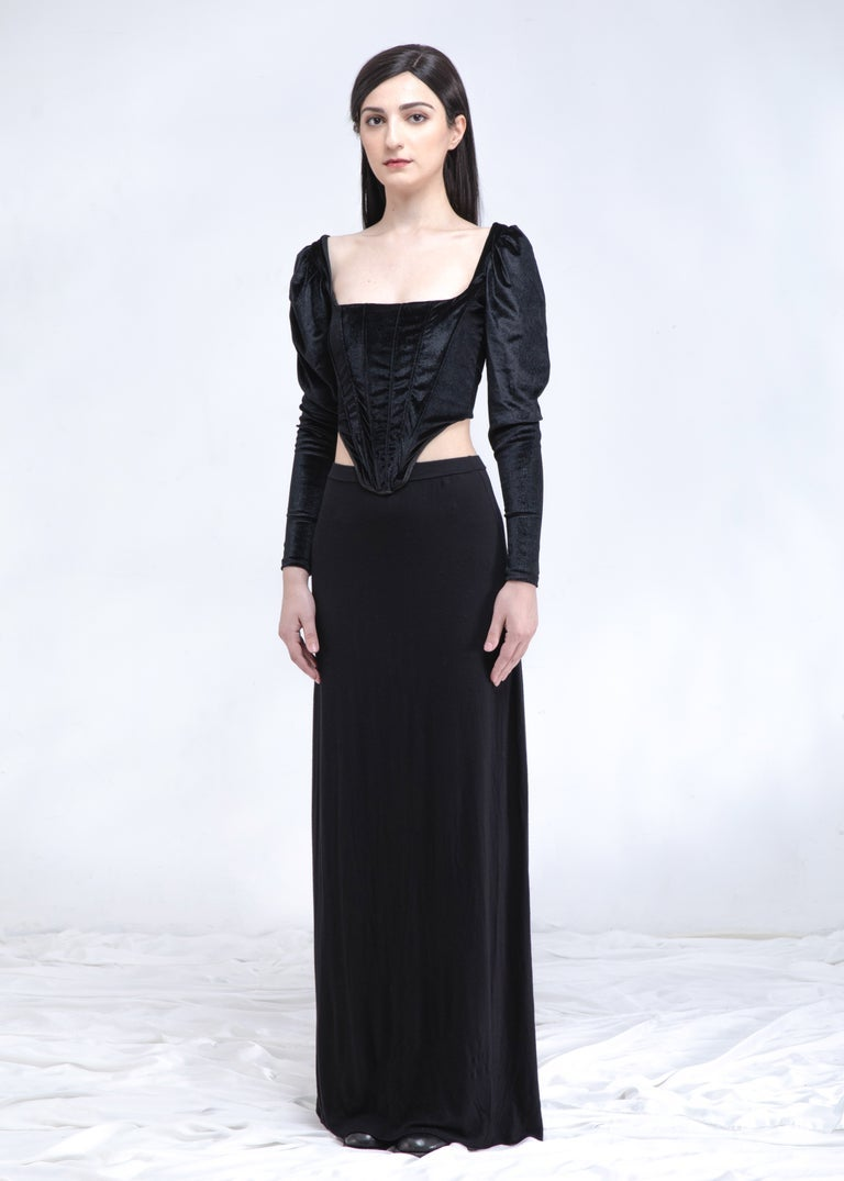 Image of SAMPLE SALE - Black Velvet Corset Top