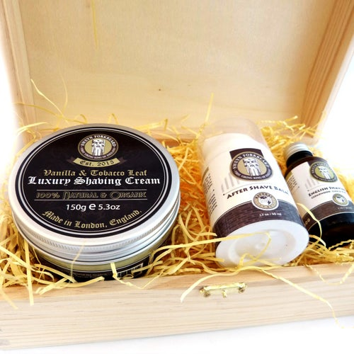 Image of Shaving Cream + English Shaving Oil + After Shave Wooden Box