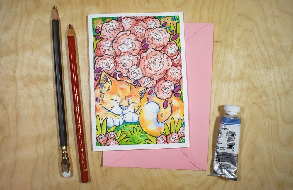 Image of Sleeping Rose Cat Plant - Card