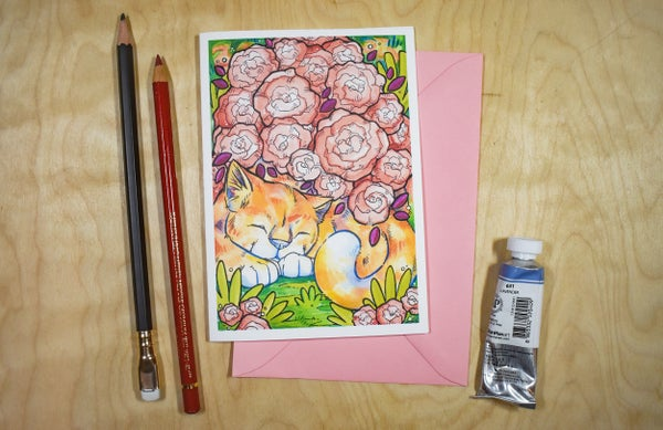 Image of Sleeping Rose Cat Plant - Card