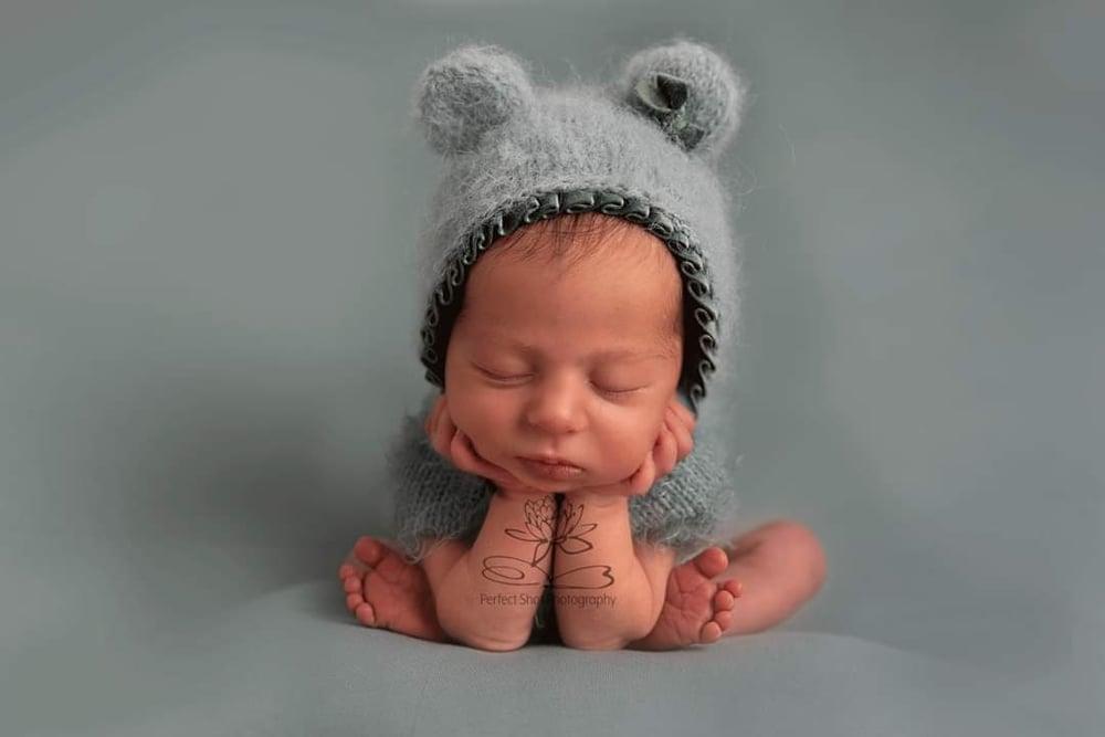 Image of Newborn Teddy bear bonnets. Ready to post