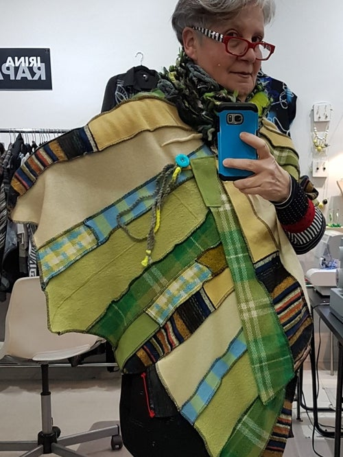 Image of collage shawl, pale yellow, green