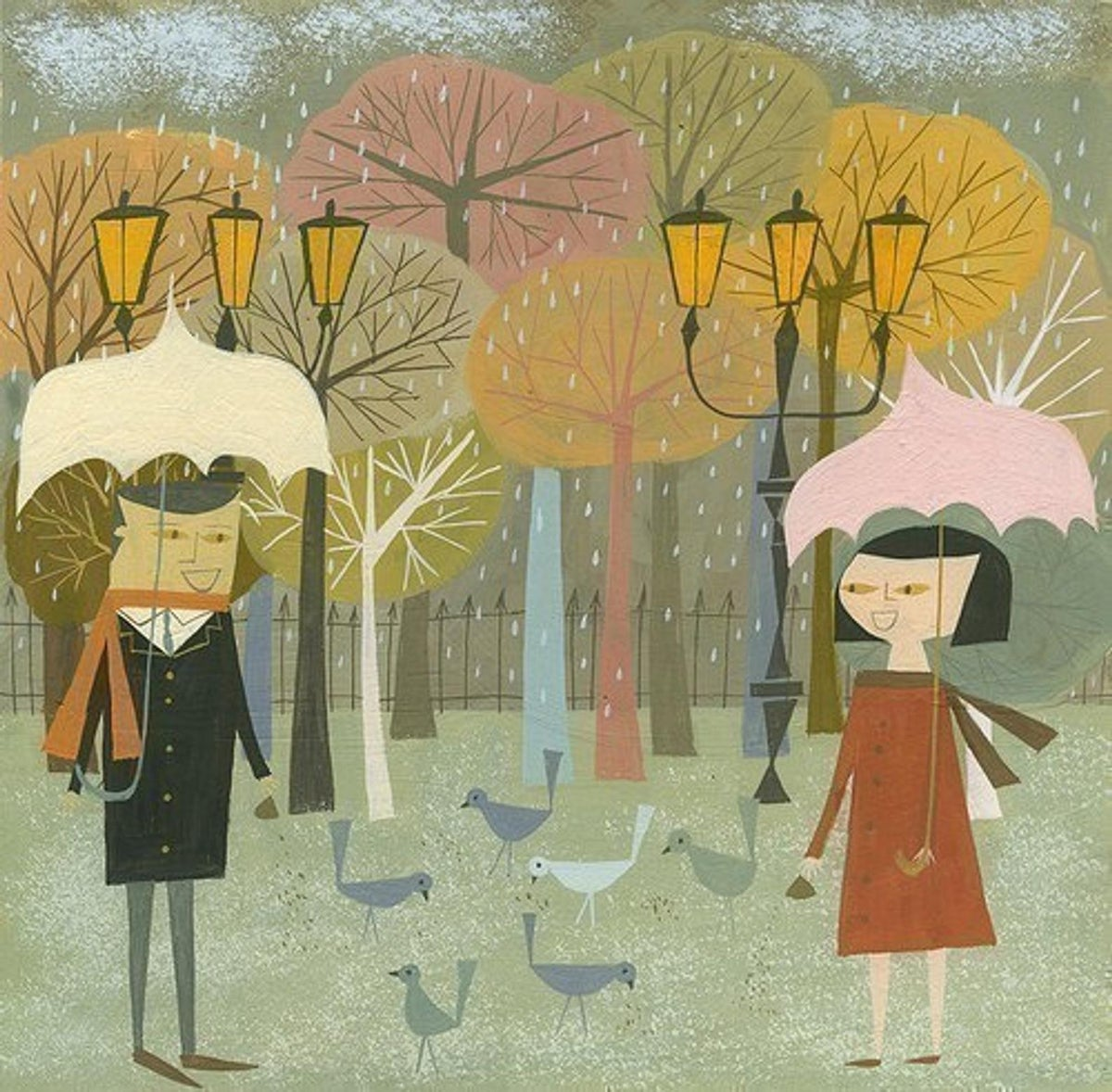 Image of Meeting to feed birds. Limited edition print.