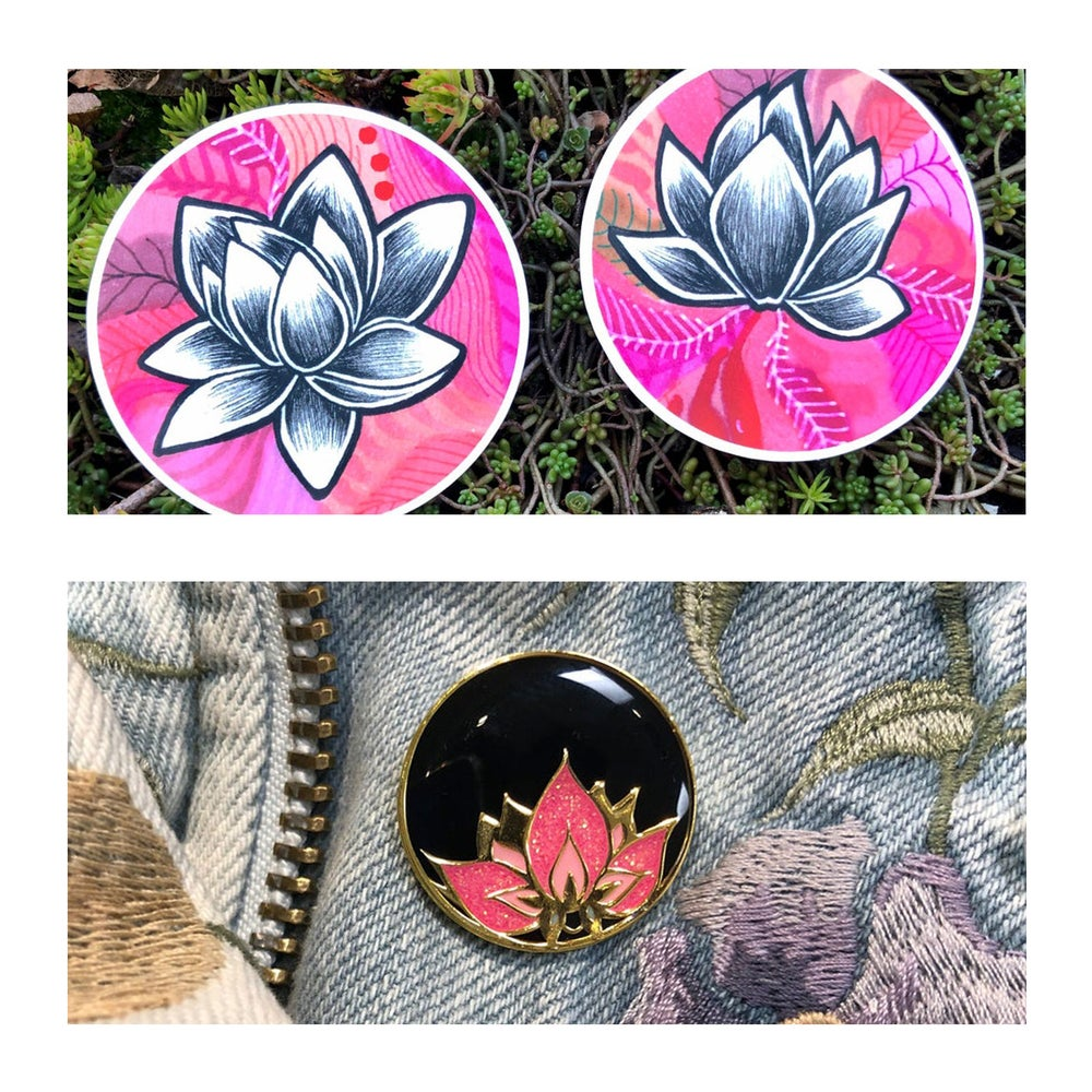 Image of LOTUS  STICKER + PIN GIFT PACK