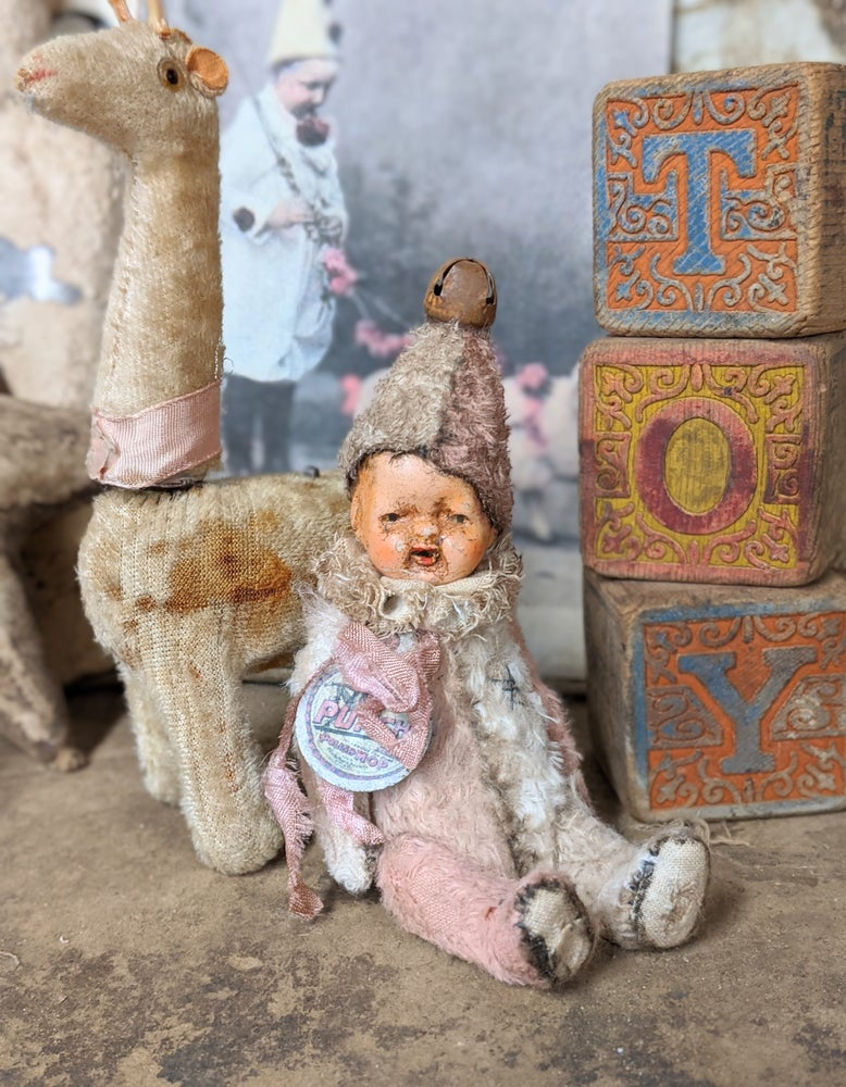"Image of 5"" Wee Shabby PINK&CREAM POPPET w/ 1930's dolly head by Whendi's Bears"