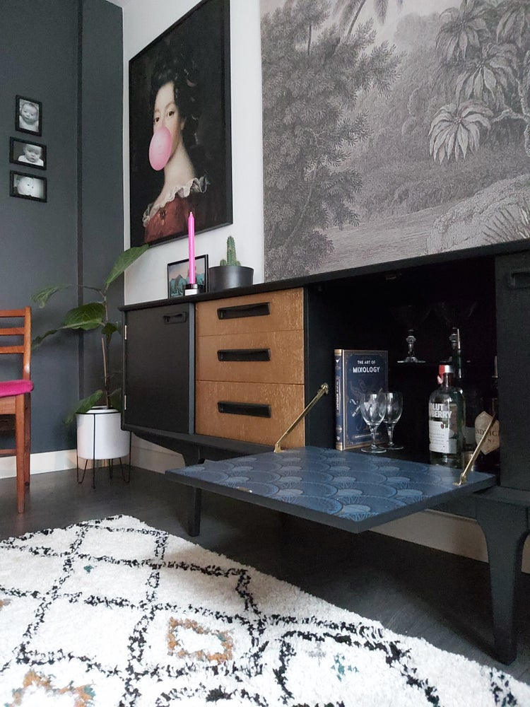 Image of MID CENTURY CREDENZA IN COAL BLACK & GOLD