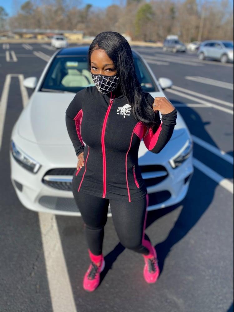 Image of Black/Pink Logo Fitted Jogging Set
