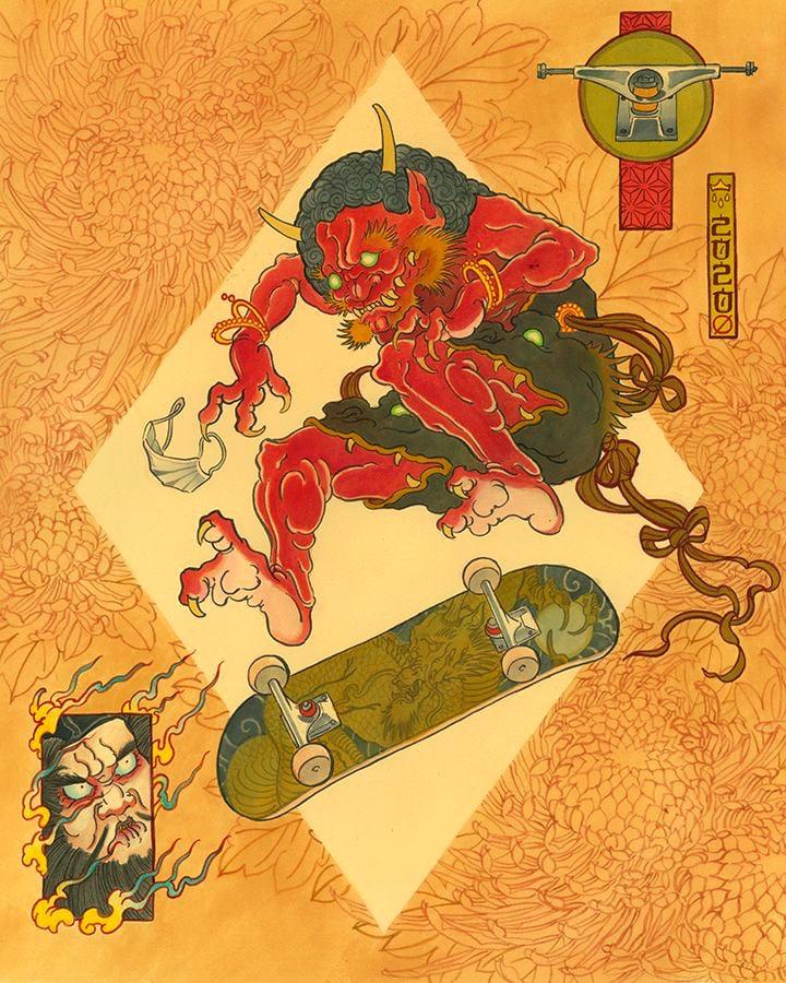 "Image of ""Oni Skater"" (original) 24""x20"""