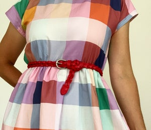 Red Plaited Leather Belt