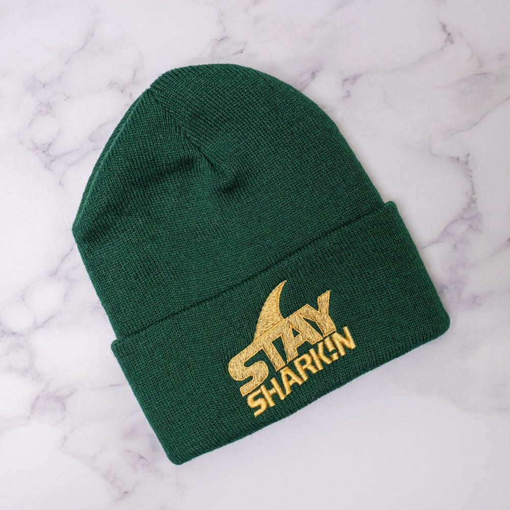 Stay Sharkin Beanie in Forest Green and Gold
