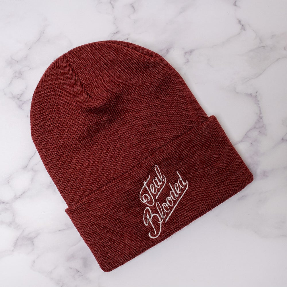 Teal Blooded Beanie in Maroon