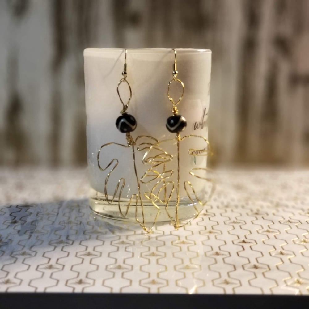 Image of Monstera leaf wire earrings