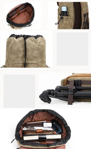 Image of camera backpack with space for clothes