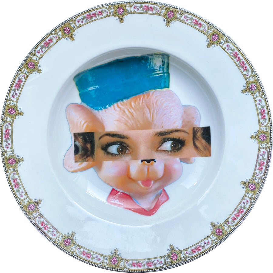 Image of Eyeconic - Winona Kitsch Face - Vintage Porcelain Plate - #0750