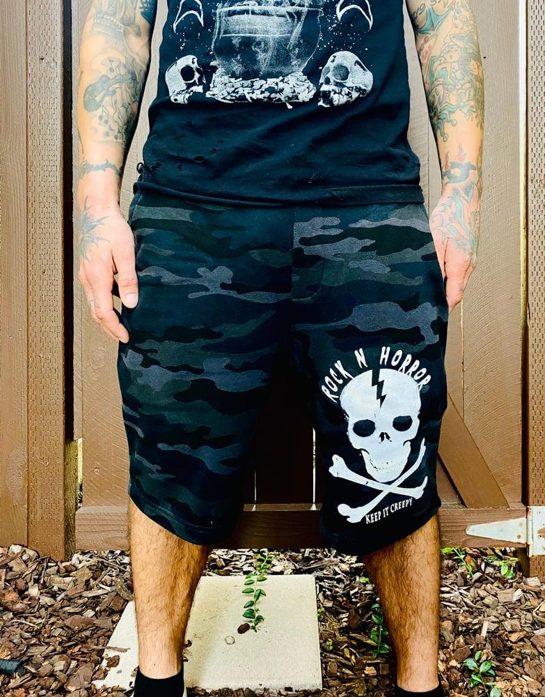 Image of Keep It Creepy Black Camo Jogger Shorts