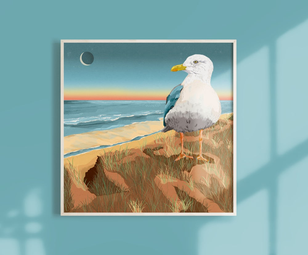 Image of Square Giclèe Print | A seagull at the beach