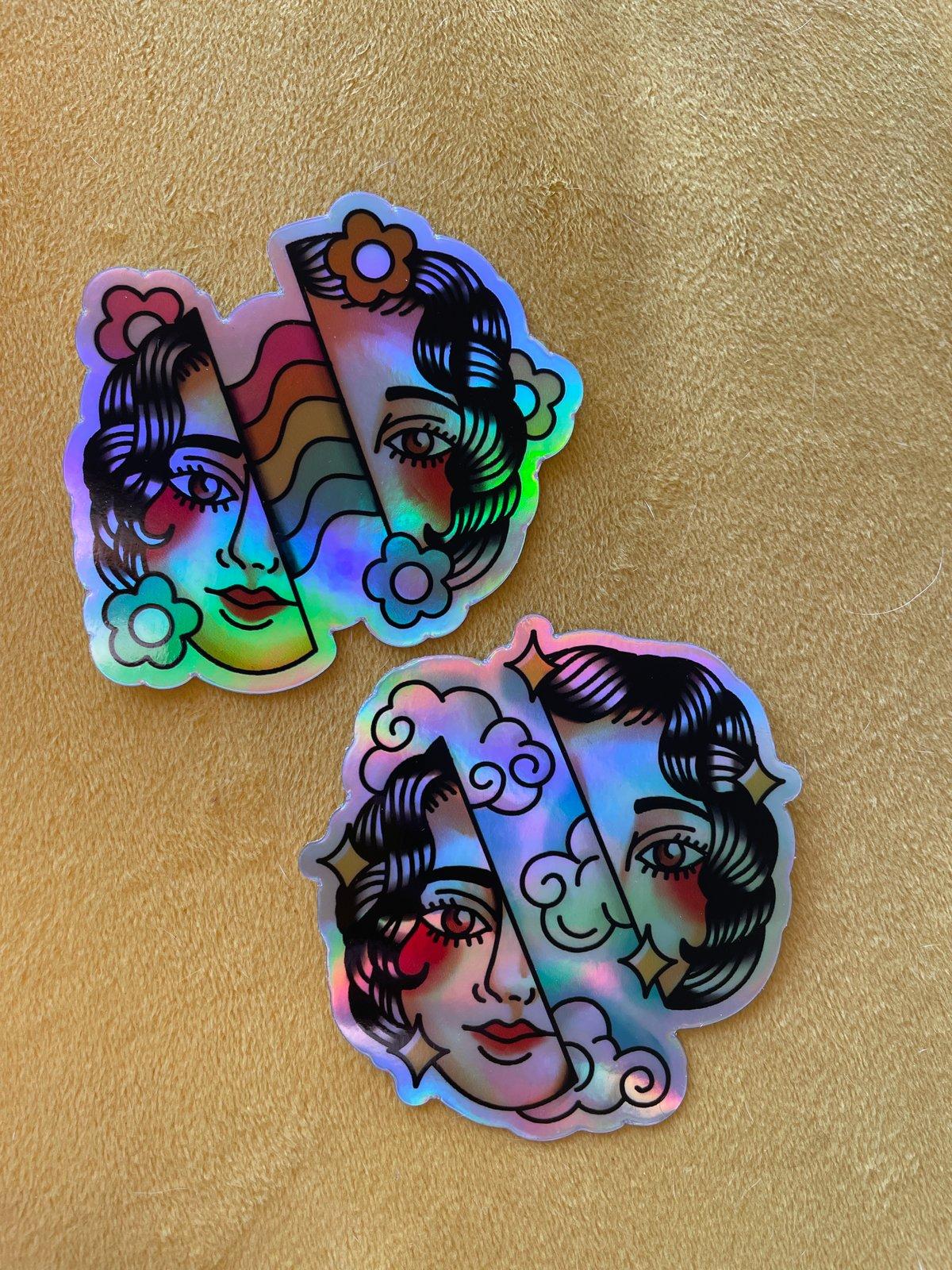 Holographic Split Head Sticker Pack