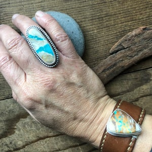 Image of Royston Ribbon Turquoise Ring (with patterned band)