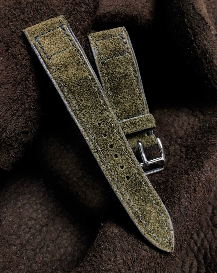 Image of Moss Green Reversed Suede box stitched watch strap