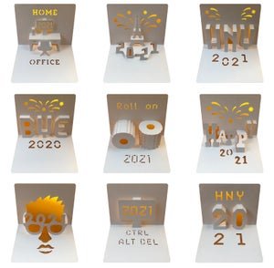 Image of HAPPY NEW YEAR 2021 Template bundle - PDF / SVG digital files