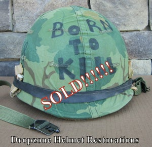 "Image of Vietnam M-1 Helmet & complete liner Mitchell Camo Cover ""BORN TO KILL"""