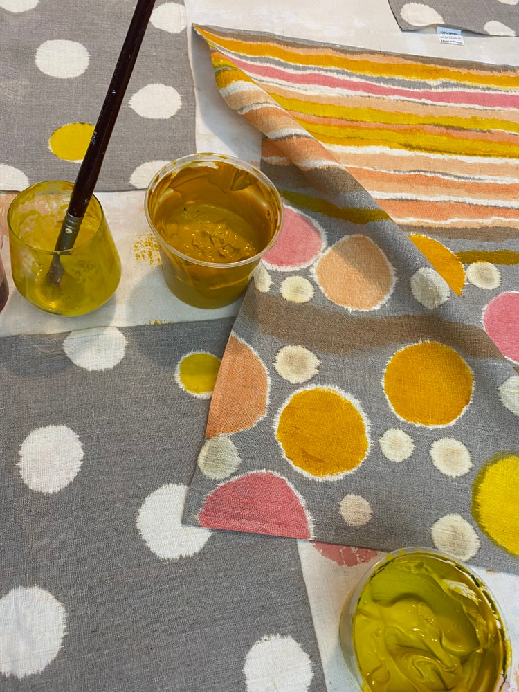 Image of Painting on fabric with indigo and fabric paint..with Cath May 15th 2-5pm