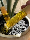 ESSENTIAL OIL ROLLER W/YELLOW APATITE CRYSTAL, BAMBOO TOP- SWEET ORANGE OIL