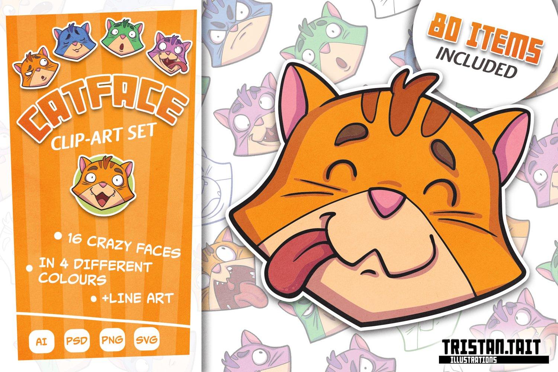 Image of Catface Clip-Art set - Digital file