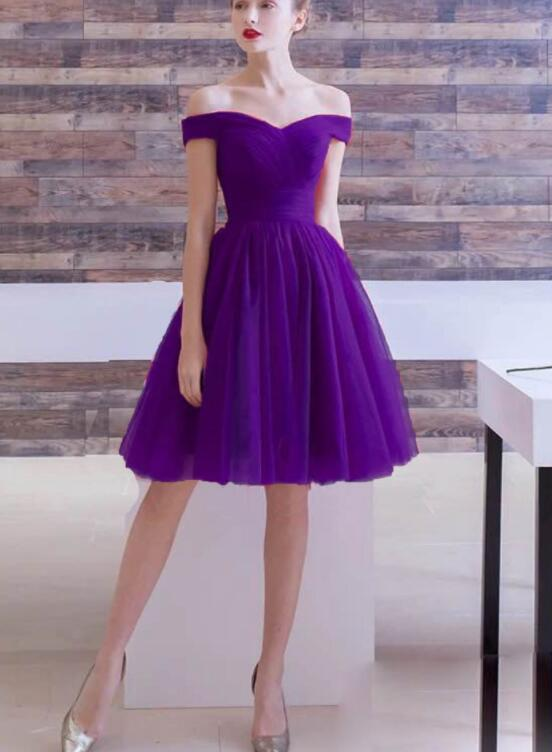 Off Shoulder Purple Tulle Homecoming Dress, Short Prom Dress Party Dress