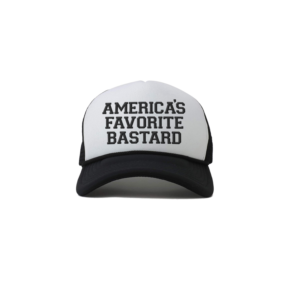 "Image of ""America's Favorite Bastard"" Embroidered Trucker Cap."