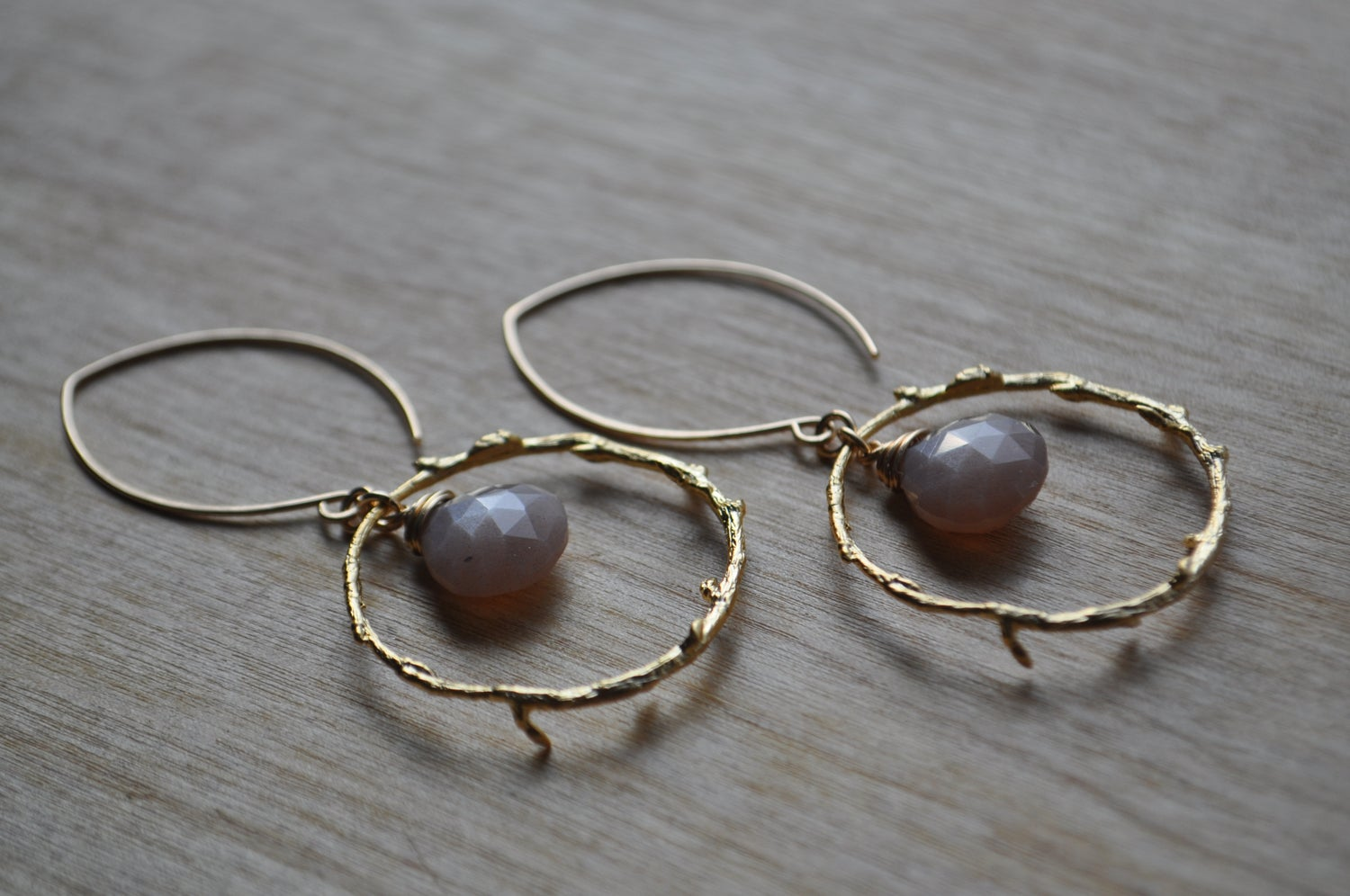 Image of Chocolate Moonstone Branch Hoop Dangles