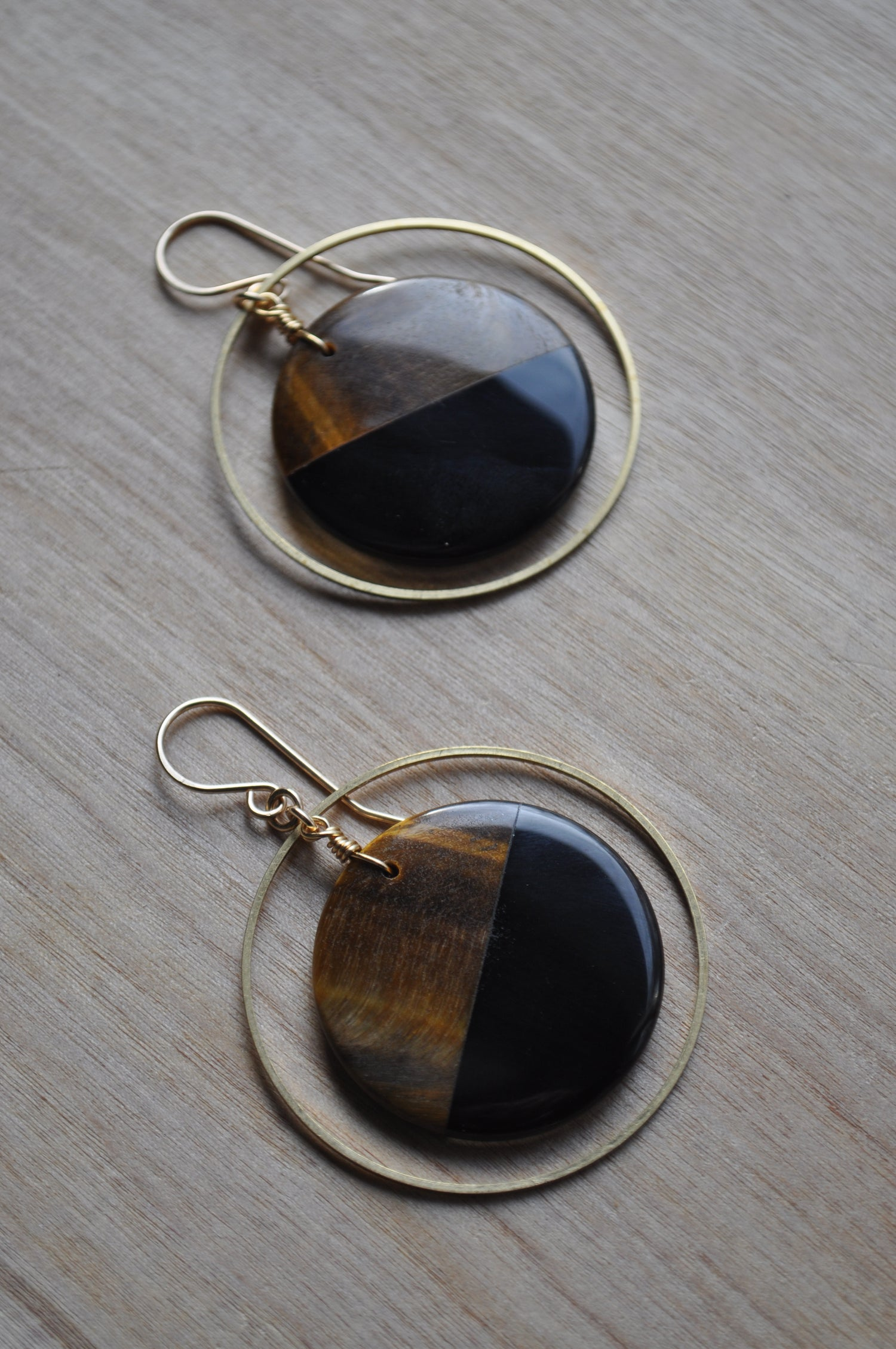 Image of Tiger Eye and Obsidian Hoops