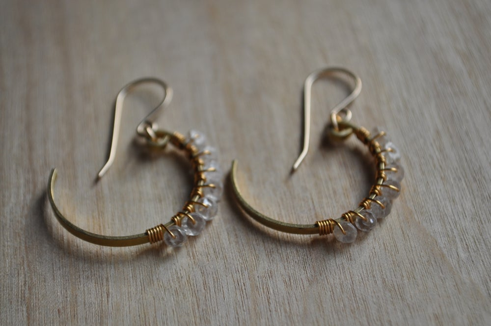 Image of White Zircon Small Crescent Hoops