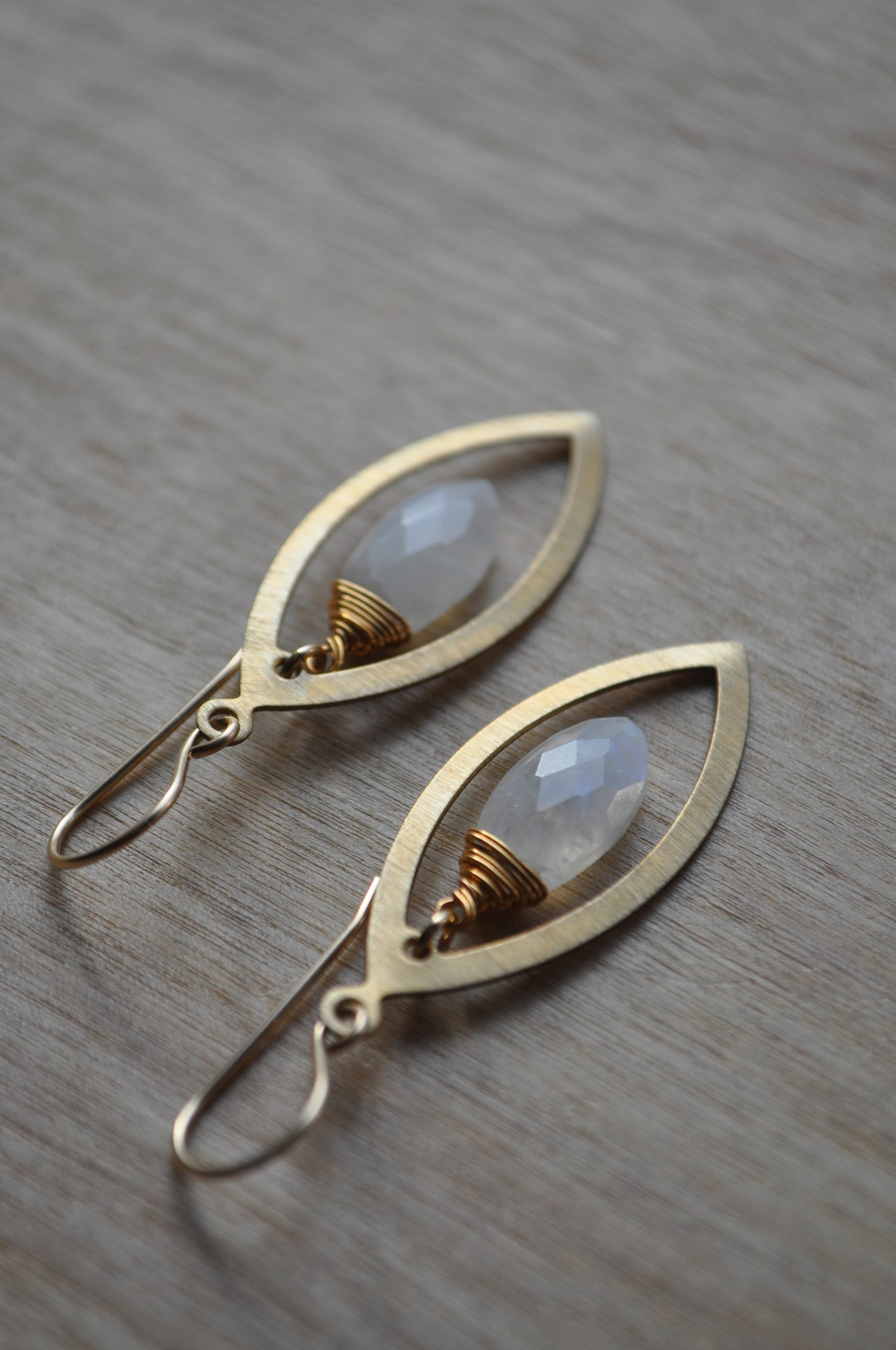 Image of Rainbow Moonstone Marquise Dangles