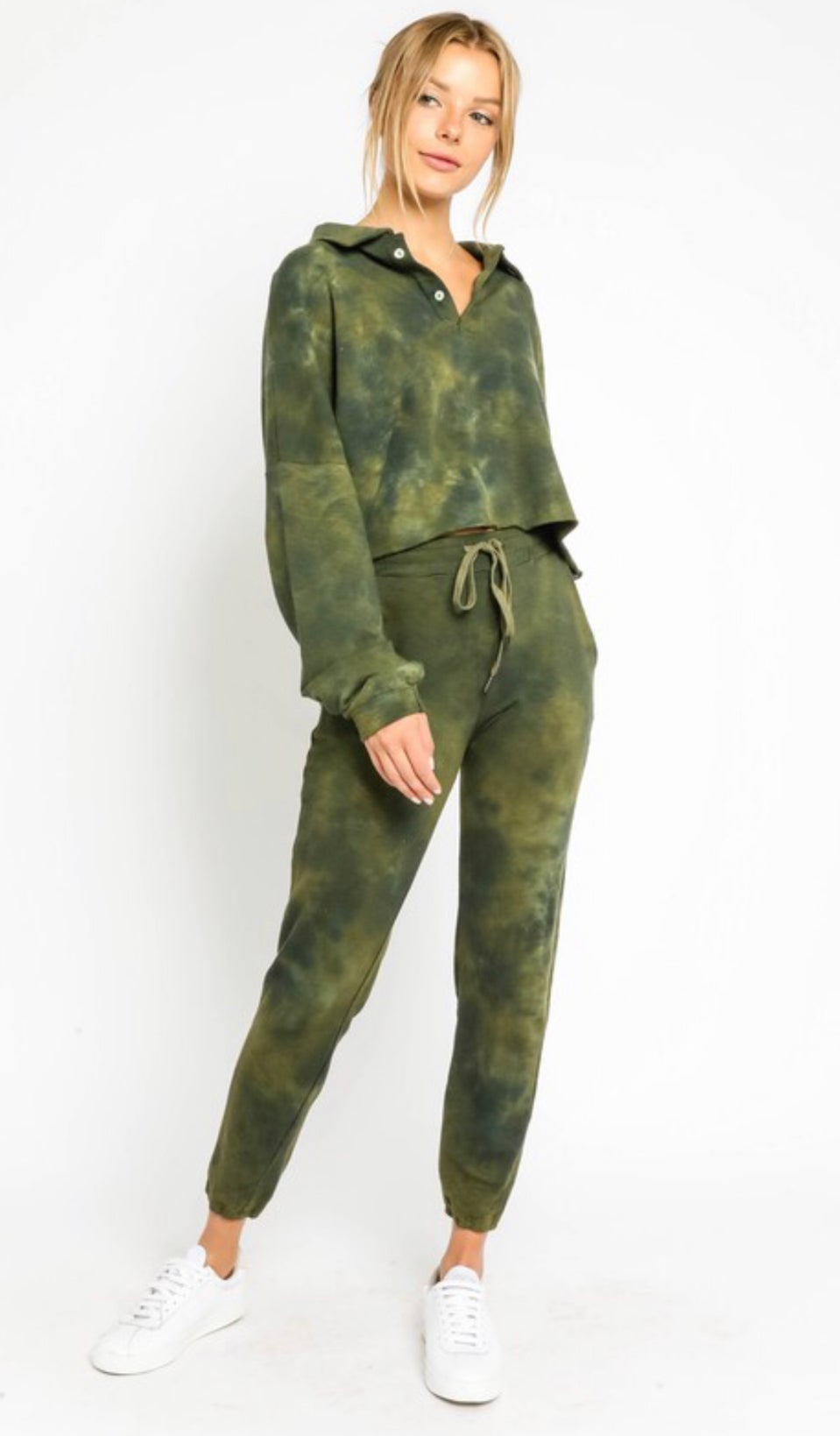 Image of OLIVE TIE DYE BOYFRIEND SET