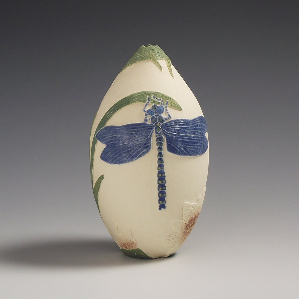 Dragonfly & water-lily ceramic sgraffito vessel