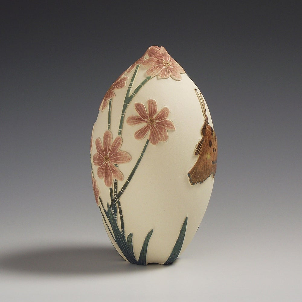 Tortoise shell butterfly & cosmos ceramic sgraffito vessel