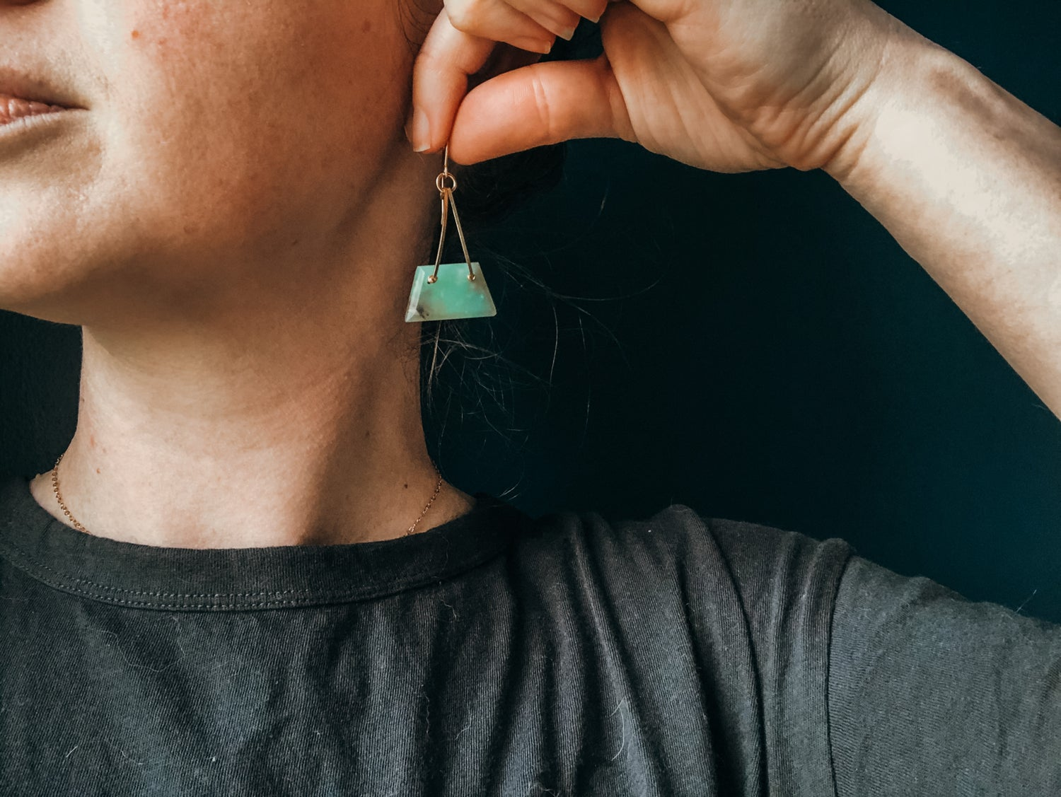 Image of One of a Kind Chrysoprase Trapezoid Dangles