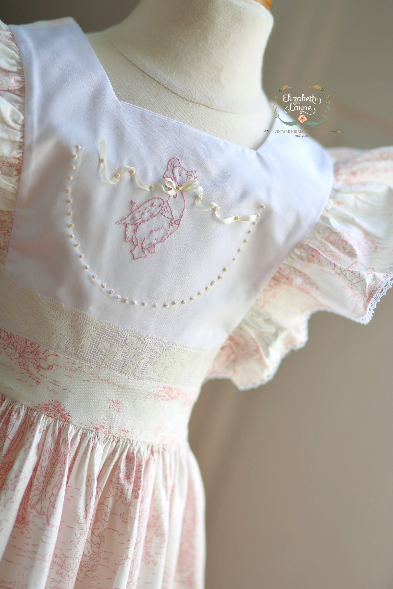 Image of Beatrix Potter Pink Toile Pinafore Dress