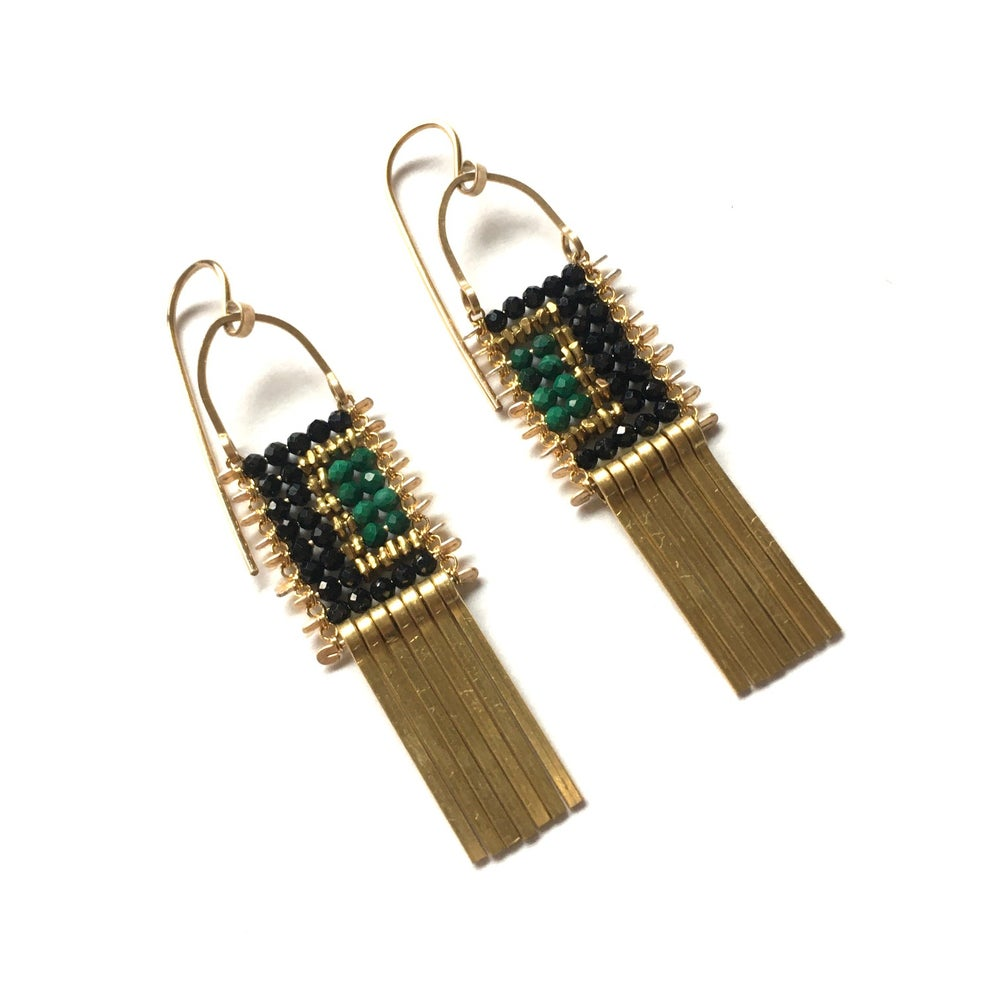 Image of Color Block Earrings with Spinel and Malachite
