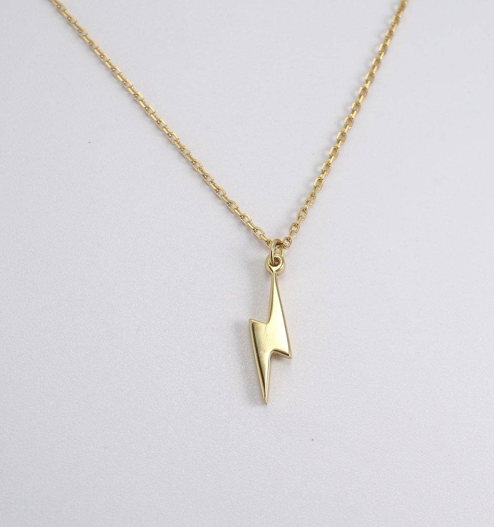 Gold Lightning Bolt Necklace (925 Sterling Silver)